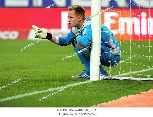 Gladbach's goalkeeper Marc-Andre ter Stegen reacts during the German Bundesliga match between Hamburger SV and Borussia Moenchengladbach at Imtech Arena in...