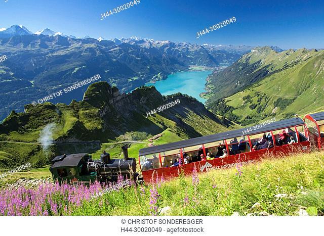 Brienzer Rothorn Bahn über dem Brienzersee, Jungfrau, Mönch, Eiger