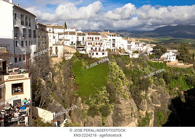 'El Tajo' canyon or gorge of Ronda, Ronda, White Towns, Malaga province, Andalusia, Spain, Europe