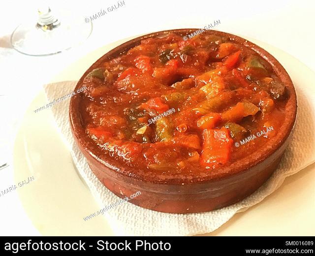 Pisto manchego serving. La Mancha, Spain
