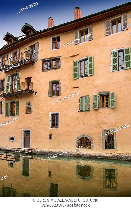 Old building. Canal de Thiou,Annecy old town. Annecy, France, Haute-Savoie, Rhone-Alpes, Europe