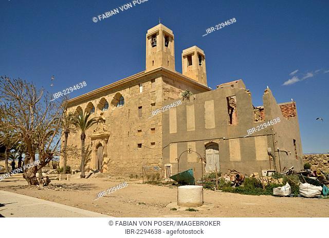 Church Iglesia de San Pedro, Island of Tabarca, Isla de Tabarca, Alicante province, Costa Blanca, Spain, Europe