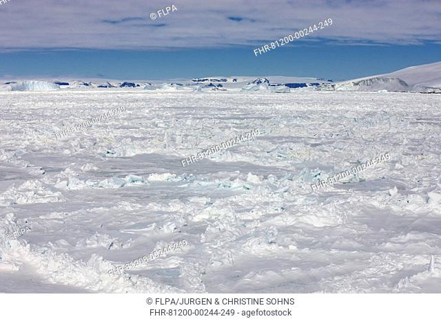 View of pack ice and coastline, Weddell Sea, Antarctica, December