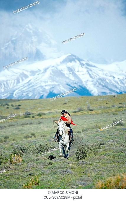 Man riding horse, Patagonia, Chile