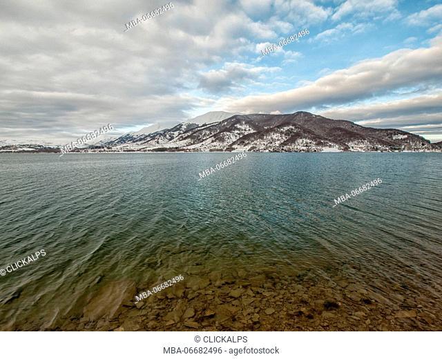Europe, Italy, Abruzzo. Lake of Campotosto