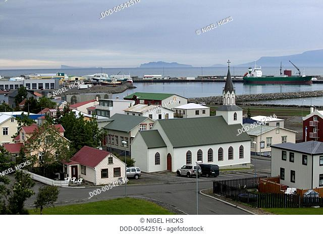 Iceland, view over the old part of Saudarkrokur to the port