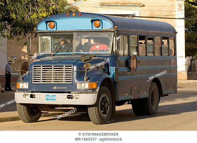 Vintage bus, Remedios, Santa Clara Province, Cuba, Central America