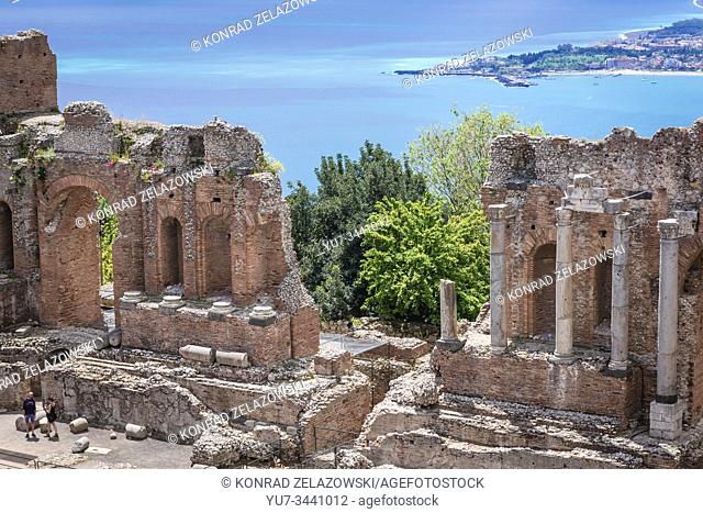Ruins of ancient theatre in Taormina comune in Metropolitan City of Messina, on the east coast of the island of Sicily, Italy