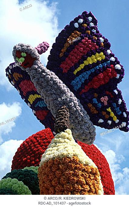Flower decoration 'Butterfly' at flower parade Battle of Flowers St. Helier Jersey Channel Islands Great Britain