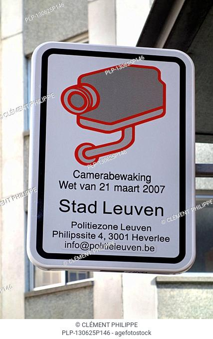 Camera surveillance sign in the city Leuven / Louvain, Belgium