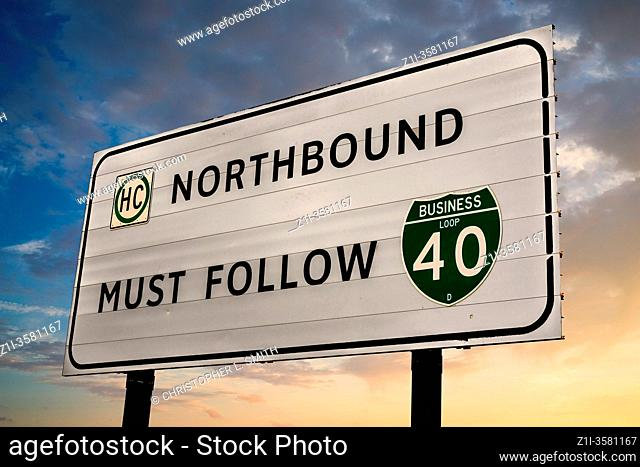 Northbound Must Follow Business I-40 sign just outside Amarillo Texas