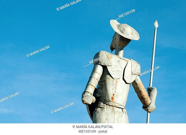 Sculpture of Don Quijote, close view. Puerto Lápice, Ciudad Real province, Castilla La Mancha, Spain