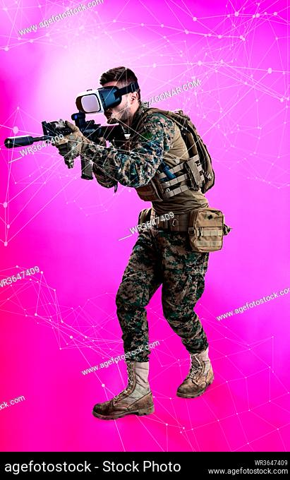 modern warfare futuristic soldier using vr virtual reality glasses with neural network dots and lines in background as concept of artificial intelience on hud...
