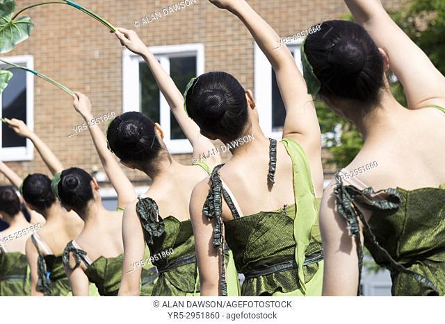 Dancers from Taiwan Youth Dance Company performing at Billingham International Folklore Festival of World Dance. Billingham, England, United Kingdom