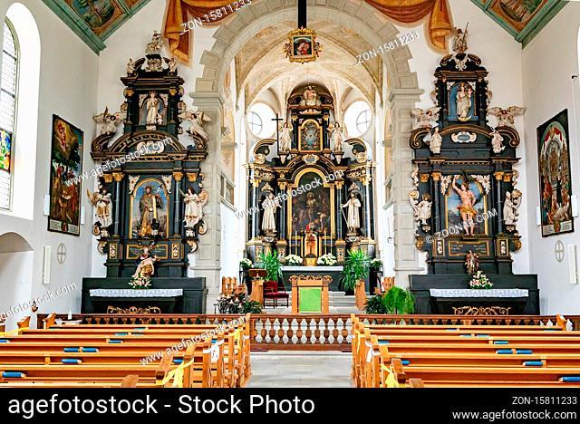 Willisau, LU / Switzerland - 3 July 2020: interior view of the historic 15th century Heiligblut or holy blood