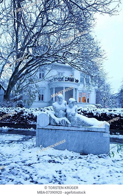 Snow covered old Bremen villa at dusk in Schwachhausen, Bremen, Germany, Europe