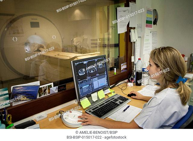 Reportage in a radiology service in a hospital in Haute-Savoie, France. MRI scan