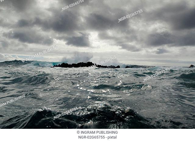 Waves breaking on the coast, Playa Ochoa, San Cristobal Island, Galapagos Islands, Ecuador
