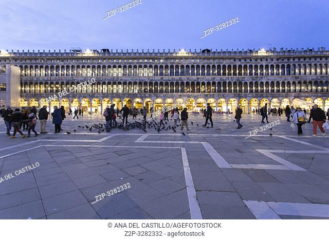 Venice Veneto Italy on January 19, 2019: Twilight at St Marks square