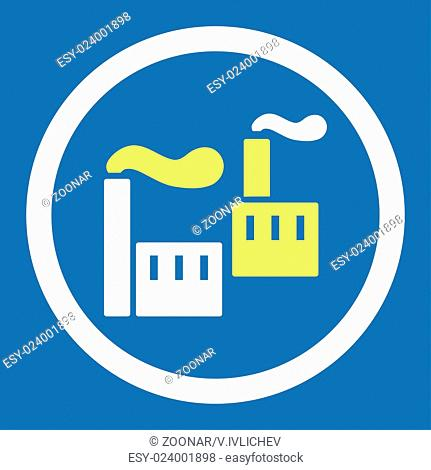 Industry flat yellow and white colors rounded vector icon