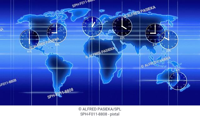 Computer artwork of a world map illustration with indicated time zones, clocks and time differences of Los Angeles, New York, London, Moscow, Beijing