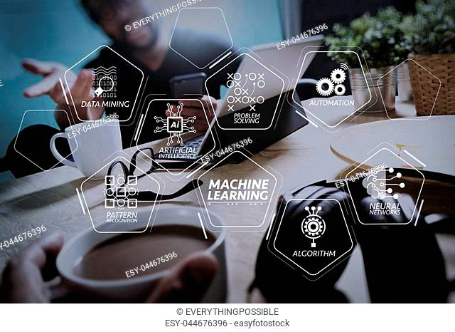Machine learning technology diagram with artificial intelligence (AI), neural network, automation, data mining in VR screen