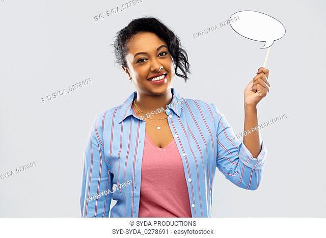 happy african american woman holding speech bubble