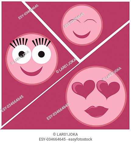 three pink icons of facial expressions in a pink background