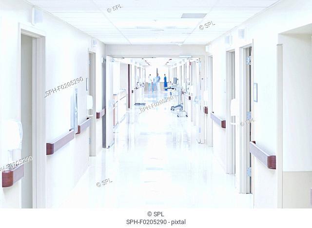 View down hospital corridor