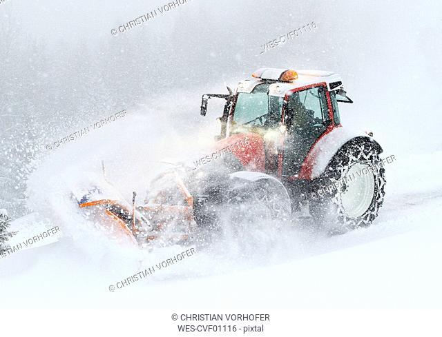 Austria, Tyrol, Obergurgl, snow-plowing service with snowplough