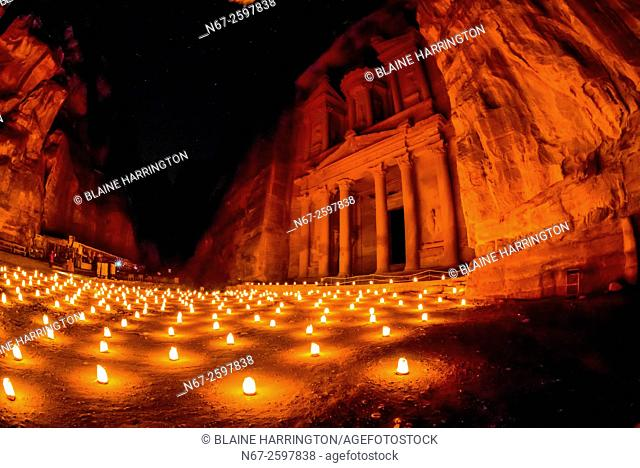 Petra by night (candlelit), The Treasury monument (Al-Khazneh), Petra archaeological site (a UNESCO World Heritage site), Jordan