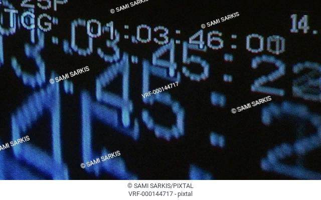 Close-up of a digital display on a black background