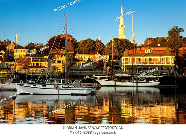 Autumn dawn in the tiny harbor town of Camden Maine, USA