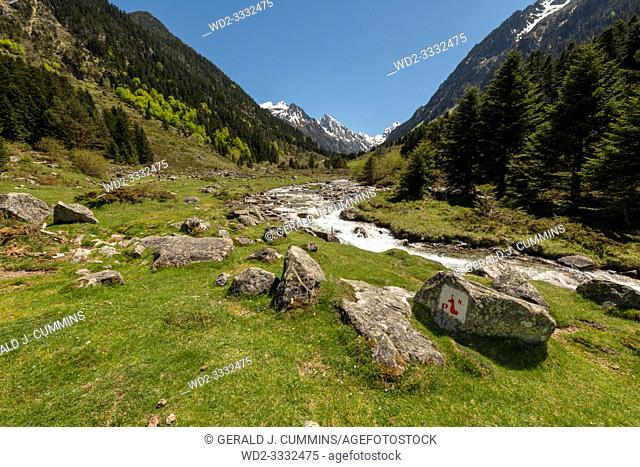 Europe, France, Pyrenees, 05-2019, Water streams from melting snow cut through a valley in the mountains of French Pyrenees