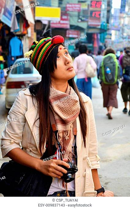 Traveler Thai woman at Thamel