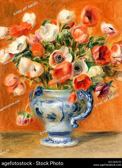 Vase of anemones, 1890. Creator: Renoir, Pierre Auguste (1841-1919)