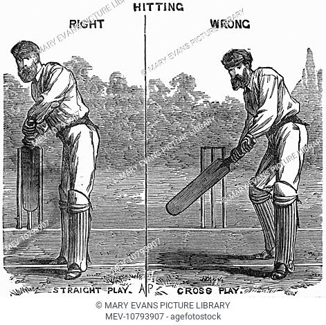 A batsman demonstrate the correct way of batting; straight play and then the incorrect way; cross play