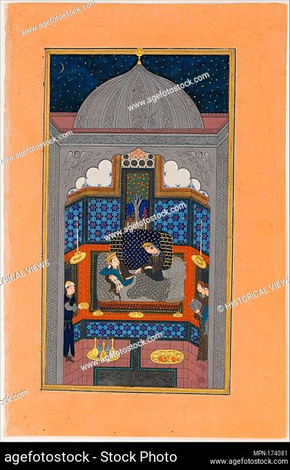 Bahram Gur and the Indian Princess in the Dark Palace on Saturday, Folio 23v from a Haft Paikar (Seven Portraits) of the Khamsa (Quintet) of Nizami