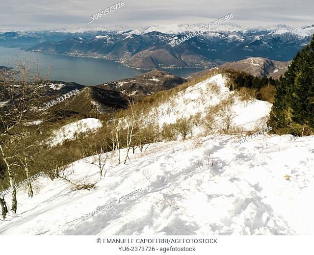 Lake Maggiore seen from the surrounding mountains, winter, Varese, Lombardy, Italy
