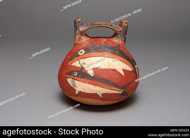 Double Spout Vessel Depicting Sharks - 180 B.C./A.D. 500 - Nazca South coast, Peru - Artist: Nazca, Origin: Peru, Date: 180 BC–500 AD