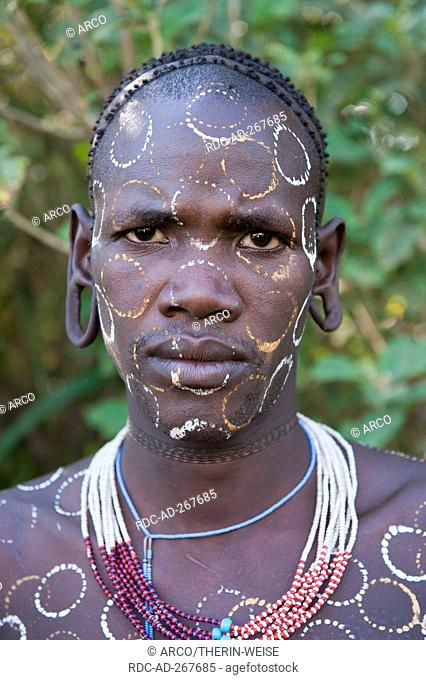 Surma man with body paintings, Surma tribe, Kibish, Omo River Valley, Ethiopia