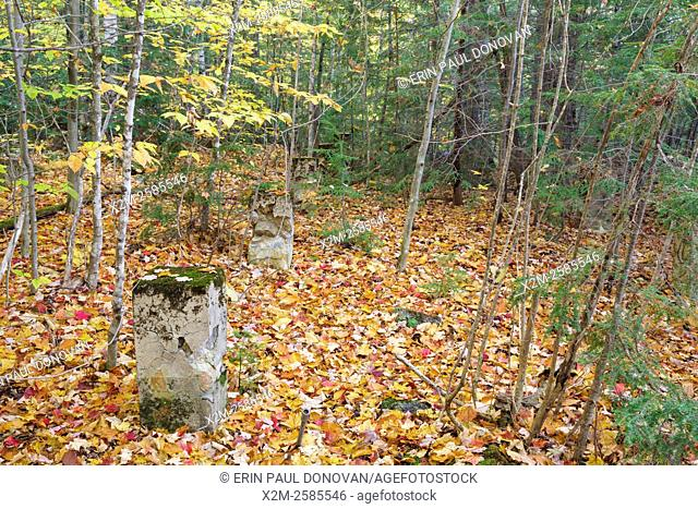 Remnants of the dwellings along in the abandoned village of Livermore during the autumn months. This was a logging village in the late 19th and early 20th...