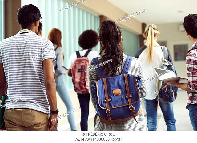 Students walking in school corridor, rear view