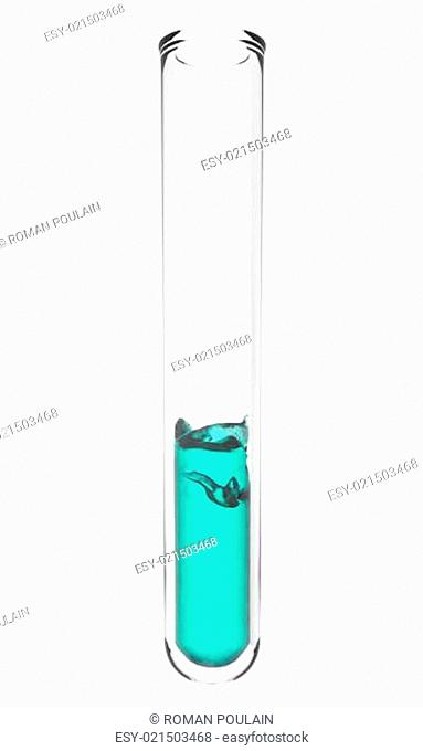 test tube with wavy turquoise liquid inside