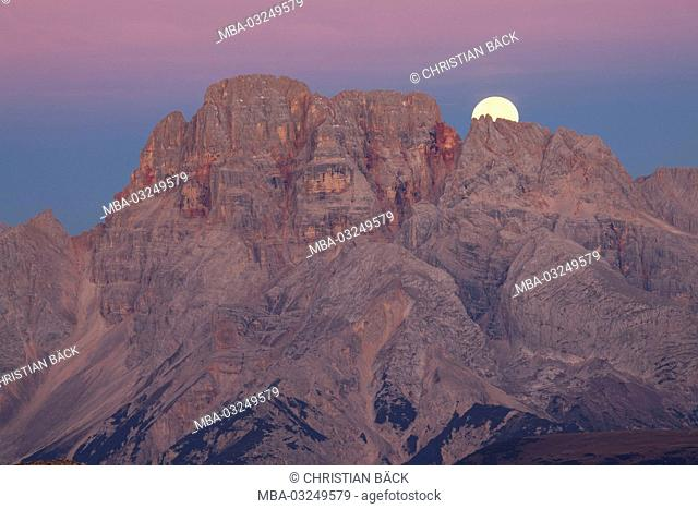 View from the Büllele col to the high Gaisl and the moon, Sexten Dolomites, South Tirol, Northern Italy, Italy