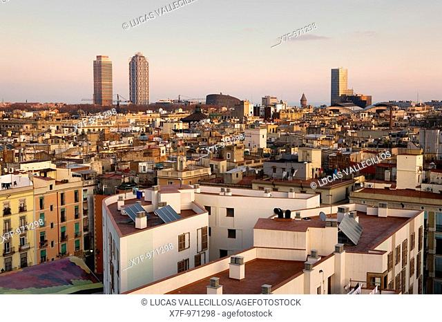Barcelona: From left to right, Mapfre tower, Hotel Arts, Barcelona Biomedical Research Park building and Mare Nostrum tower