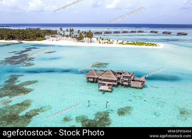Aerial View of Vacation Island Lankanfushi, North Male Atoll, Indian Ocean, Maldives