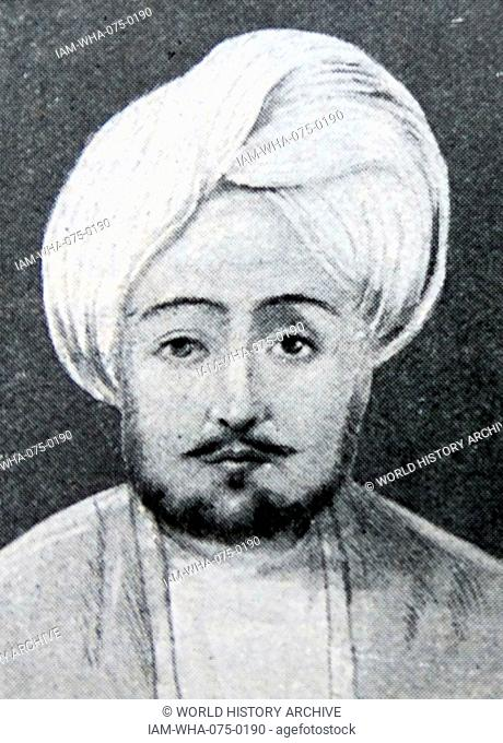 Portrait of Dost Mohammad Barakzai (1793-1863) founder of the Barakzai dynasty and one of the prominent rulers of Afghanistan during the First Anglo-Afghan War