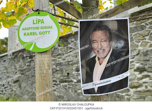 A pious place by a lime tree (tilia) adopted by Karel Gott is seen in Ujezd u Svateho Krize, Czech Republic, on October 2, 2019