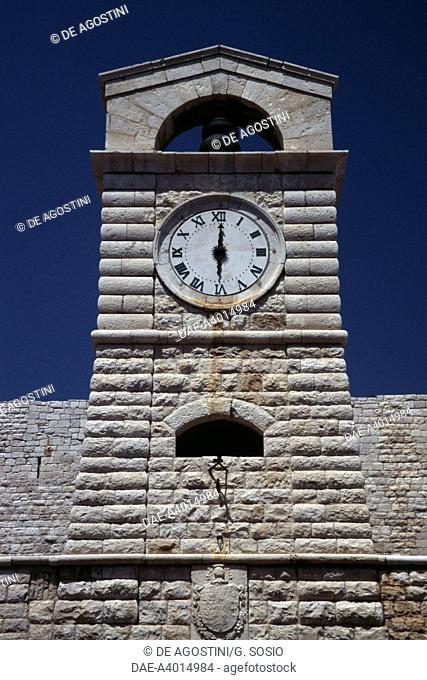 The clock tower, 19th century, at the entrance to Svevo castle, Trani, Apulia, Italy